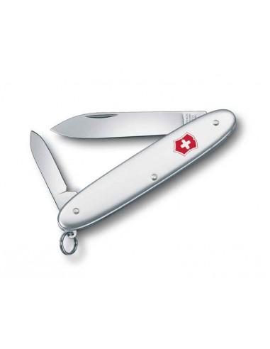 Navaja Suiza Excelsior, 2 hojas y anilla, Alox plateado (0.6901.16)